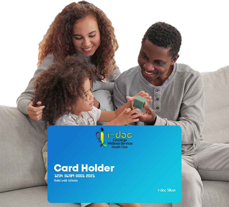 family picture with health club card